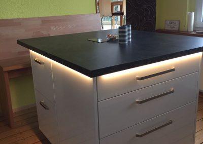 Küchenblock Hochglanzplatte weiß